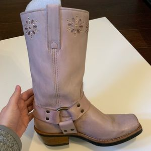 EUC FRYE • Leather Lavender Cut Out Harness Boots